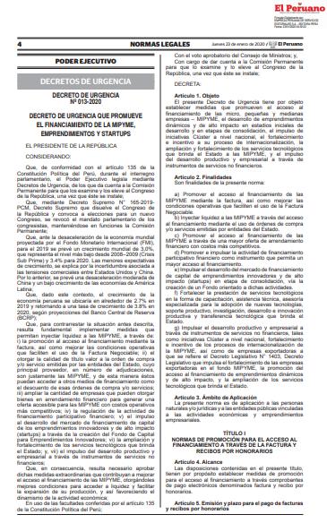 Factoring tomará mayor impulso con la publicación del reglamento del DU Nº 013-2020