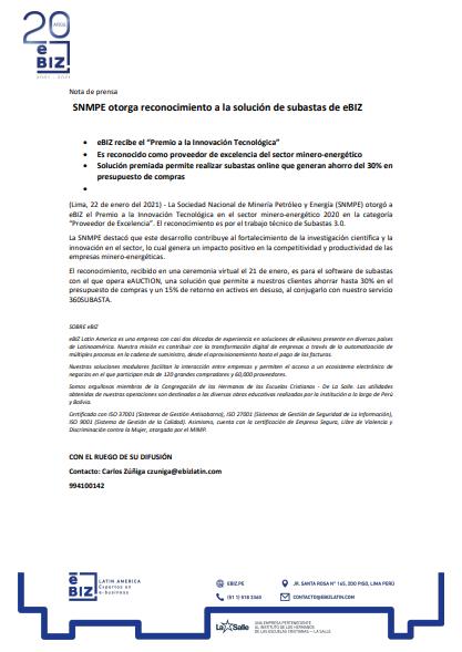 SNMPE otorga reconocimiento a la solución de subastas de eBIZ