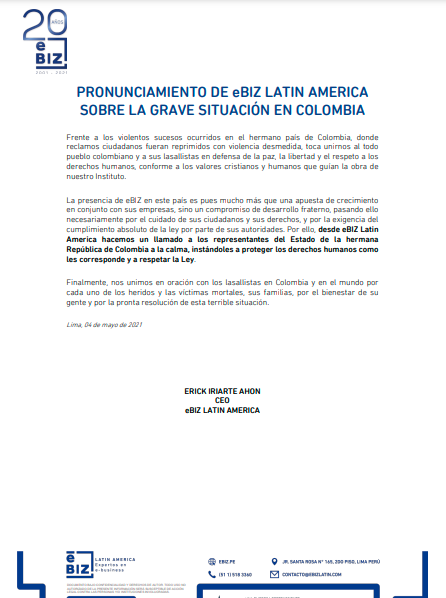 PRONUNCIAMIENTO DE eBIZ LATIN AMERICA SOBRE LA GRAVE SITUACIÓN EN COLOMBIA