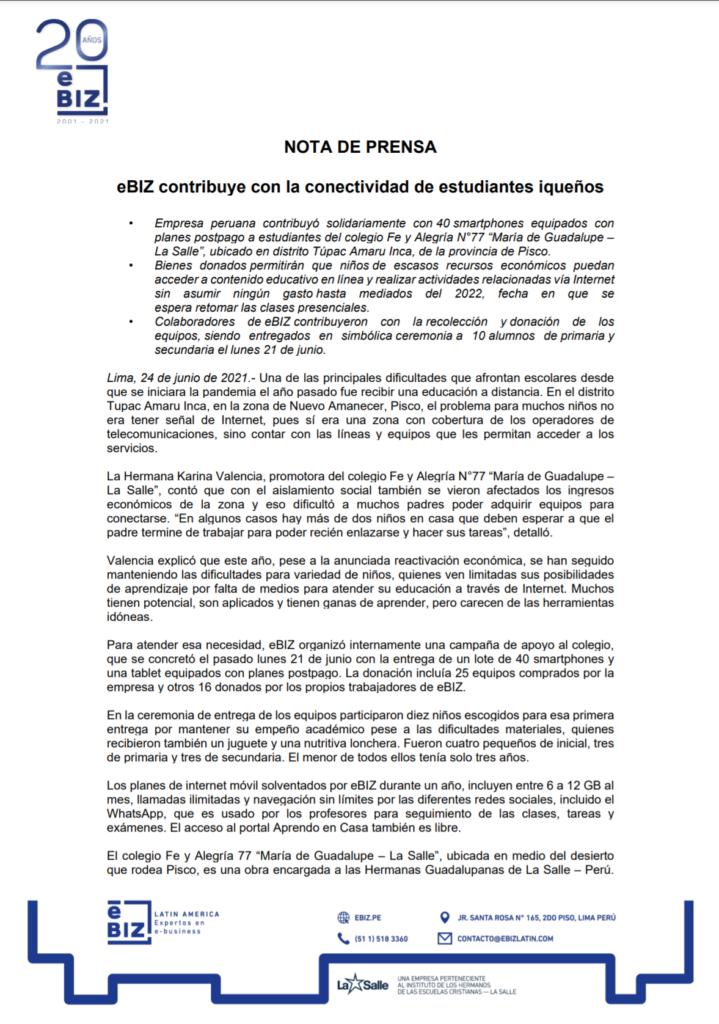 eBIZcontribuye con la conectividad de estudiantes iqueños
